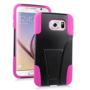 Insten Hard Dual Layer Plastic Silicone Case with stand For Samsung Galaxy S6 - Hot Pink