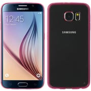 Insten Rubber Cover Case For Samsung Galaxy S6 - Hot Pink/Clear