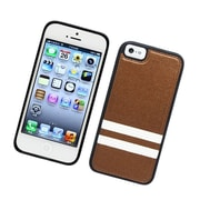 Insten Stripes PC/TPU Rubber Case Cover for Apple iPhone 5 / 5S - Brown/White