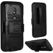 Insten Hard Hybrid Plastic Silicone Case w/Holster For Motorola Moto G4 / G4 PLUS - Black