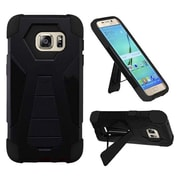 Insten Hard Dual Layer Plastic Silicone Cover Case w/stand For Samsung Galaxy S7 Edge - Black