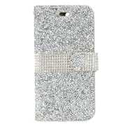 "Insten Folio Leather Rhinestone Cover Card Case Pouch For Apple iPhone 7 Plus (5.5"") - Silver/White"