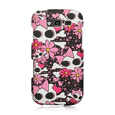 Insten Skull Crystal Skin Hard Clip On Back Rear Cover Case For Samsung Galaxy S Blaze 4G - Pink/White