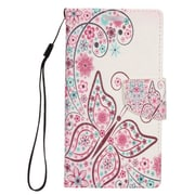 "Insten Butterfly Flip Leather Fabric Stand Card Case Lanyard w/Photo Display For Apple iPhone 7 Plus (5.5"") - Pink/White"