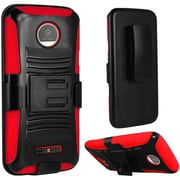 Insten Hard Dual Layer Plastic Silicone Cover Case w/Holster For Motorola Moto Z Force Droid Edition - Black/Red