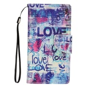 "Insten Love Book-Style Leather Fabric Stand Card Case Lanyard w/Photo Display For Apple iPhone 7 Plus (5.5"") - Blue"
