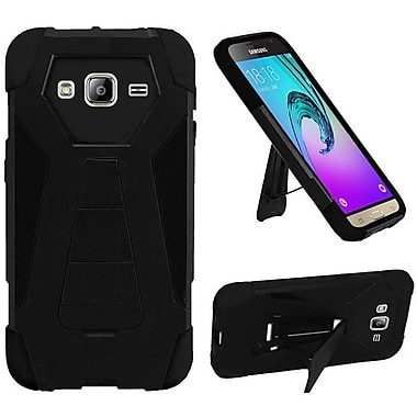 Insten Hard Dual Layer Plastic Silicone Case w/stand For Samsung Galaxy Amp Prime / J3 (2016) - Black