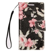 "Insten Flowers Book-Style Leather Stand Card Case Lanyard w/Photo Display For Apple iPhone 7 Plus (5.5"") - Black/White"