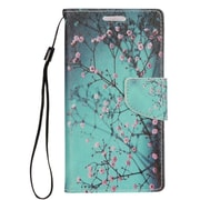 "Insten Cherry Blossom Folio Leather Fabric Case Lanyard w/stand/card slot For Apple iPhone 7 Plus (5.5"") - Blue/Pink"