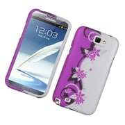 Insten Vine Flower Hard Rubber Coated Case For Samsung Galaxy Note 2 II - Hot Pink/Silver