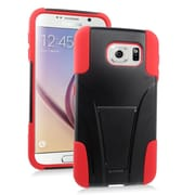 Insten Hard Hybrid Plastic 2-Layer Case with stand For Samsung Galaxy S6 - Red