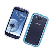 Insten Rubber Bumper Case For Samsung Galaxy S3 - White/Blue