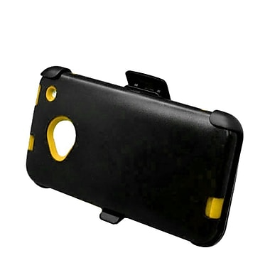 Insten Hard Hybrid Rubber Coated Silicone Case w/ Holster Clip for HTC One M7 - Black/Yellow