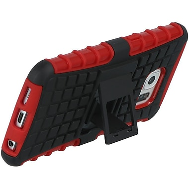 Insten Checker Hard Hybrid TPU Cover Case w/stand For Samsung Galaxy S6 - Red/Black
