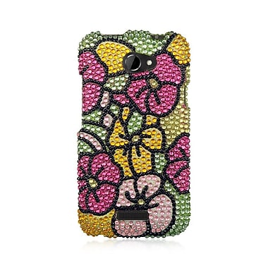 Insten For Htc One X Full Diamond Case Green Green Hot Pink Hawaii Flower