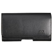 Insten Leather Feel Textured High Quality Horizontal Carry Pouch with Magnetic Cover Flap Belt Clip - Black / Gray