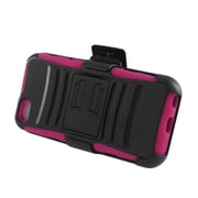 Insten Advanced Armor Dual Layer Hybrid Stand PC/Silicone Holster Case Cover for Apple iPhone 5C - Black/Hot Pink