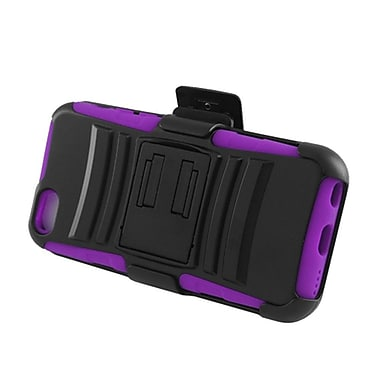 Insten Advanced Armor Dual Layer Hybrid Stand PC/Silicone Holster Case Cover for Apple iPhone 5C - Black/Purple