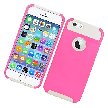 Insten Hard Hybrid Rubberized Silicone Cover Case for iPhone 6 / 6s - Pink/White