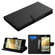 Insten Book-Style Leather Fabric Cover Case w/stand/card slot For ZTE Warp Elite - Black