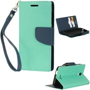Insten Flip Leather Fabric Case Lanyard w/stand/card holder For Alcatel One Touch Pop Astro - Teal/Blue