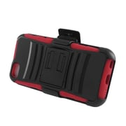 Insten Advanced Armor Dual Layer Hybrid Stand PC/Silicone Holster Case Cover for Apple iPhone 5C - Black/Red