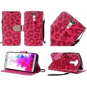 Insten Leopard Book-Style Diamond Leather Fabric Stand Case w/ Lanyard For LG G5 - Hot Pink/Black