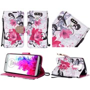 Insten Lily Diamond Folio Leather Stand Fabric Case w/Lanyard For LG G5 - Purple/White