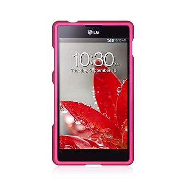 Insten Hard Crystal Rubber Skin Protective Shell Case For LG G2x - Hot Pink