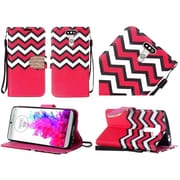 Insten Chervon Diamond Folio Leather Fabric Cover Stand Case w/ Lanyard For LG G5 - Hot Pink/White