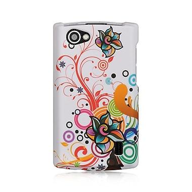 Insten Hard Crystal Rubber Skin Protective Shell Case For LG Optimus M+ - White Autumn Flower