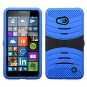 Insten Wave Symbiosis Silicone Dual Layer Rubber Hard Case w/stand For Microsoft Lumia 640 - Blue/Black