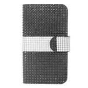 Insten Flip Wallet Leather Diamante Case with Card slot For Nokia Lumia 630/635 - Black/Silver