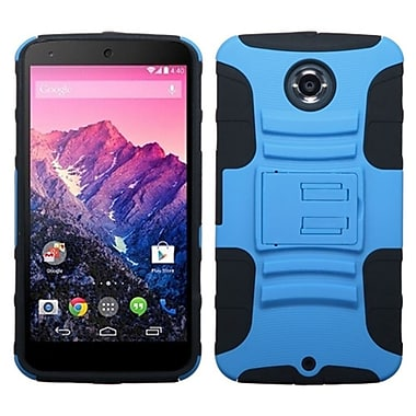 Insten Advanced Armor Hard Dual Layer Silicone Case w/stand For Motorola Nexus 6 - Blue/Black