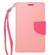 Insten Flip Wallet Leather Case with Card Slot & Lanyard For Nokia Lumia 520 - Pink/Hot Pink