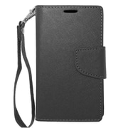 Insten Folio Wallet Leather Stand Case with Lanyard & Card slot For Nokia Lumia 521 - Black