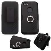 Insten Hard Dual Layer Silicone Case w/Ring stand/Holster For Apple iPhone 7 - Black