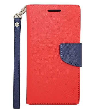 Insten Wallet Leather Stand Case with Lanyard & Card slot For HTC Desire 610/612 - Red/Blue