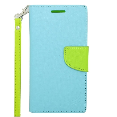 Insten Flip Wallet Leather Stand Case with Lanyard & Card slot For HTC Desire 610/612 - Light Blue/Green