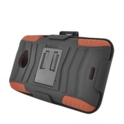 Insten Advanced Armor Dual Layer Hybrid Stand PC/Silicone Holster Case Cover for HTC EVO 4G LTE - Black/Brown