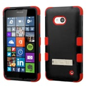 Insten Hard Hybrid Rubber Coated Silicone Case with Stand For Microsoft Lumia 640(Metro PCS)/640(T-mobile) - Black/Red