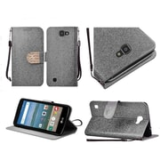 Insten Flip Leather Glitter Diamond Lanyard Case w/stand For LG K4 / Optimus Zone 3 / Spree - Silver/Gold