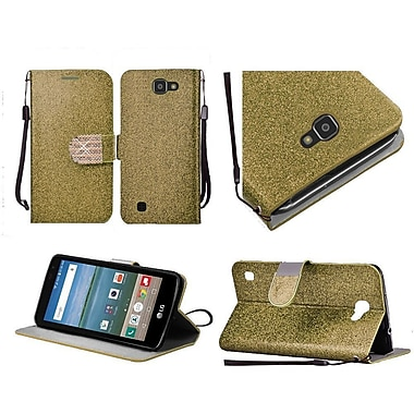 Insten Flip Leather Glitter Diamond Cover Lanyard Case w/stand For LG K4 / Optimus Zone 3 / Spree - Gold