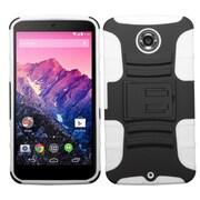Insten Advanced Armor Hard Dual Layer Silicone Case w/stand For Motorola Nexus 6 - Black/White