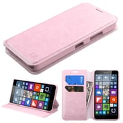 Insten Folio Leather Fabric Cover Case w/stand/card slot For Microsoft Lumia 640 - Pink