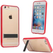 Insten Hard Hybrid Crystal TPU Cover Case w/stand For Apple iPhone 6 / 6s - Clear/Red