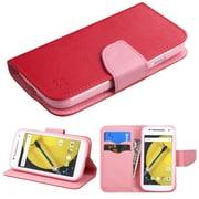 Insten Flip Leather Fabric Case w/stand/card slot/Diamond For Motorola Moto E (2nd Gen) - Red/Pink