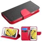 Insten Flip Leather Fabric Cover Case w/stand/card slot/Diamond For Motorola Moto E (2nd Gen) - Black/Red
