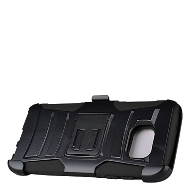 Insten Hard Hybrid Plastic Silicone Stand Case with Holster For Samsung Galaxy S7 Edge - Black