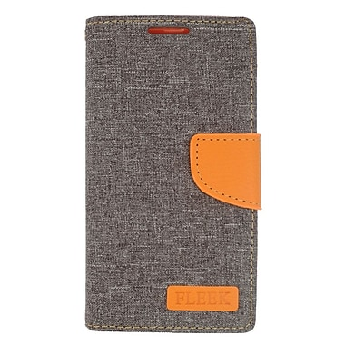 Insten Flip Wallet Leather Stand Case with Card slot & Photo Display For HTC Desire 626 - Dark Gray/Orange